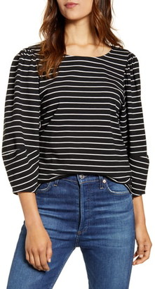 Lucky Brand Stripe Three-Quarter Sleeve Top