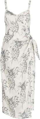 Zimmermann Wayfarer Printed Linen Wrap Dress