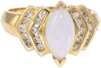 One Kings Lane Vintage Lavender Jade Diamond Navette Ring - Precious & Rare Pieces
