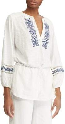 Lauren Ralph Lauren Petite Embroidered Cotton Jersey Top
