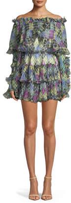 Caroline Constas Dahlia Off-the-Shoulder Ruffled Printed Metallic Dress