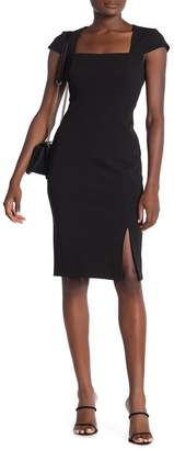 Modern American Designer Solid Cap Sleeve Sheath Dress