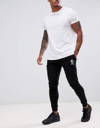 Gym King skinny joggers in black with logo
