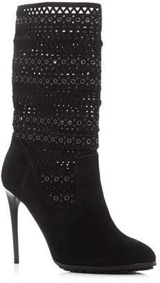 Dolce Vita Mia Laser-Cut Mid Calf High-Heel Boots