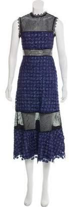 Self-Portrait Semi-Sheer Embellished Midi Dress