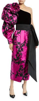 Marc Jacobs Shadow Flower Satin One-Shoulder Velvet-Bodice Gown