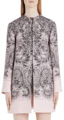 Valentino Lace Print Wool & Silk Crepe Topper