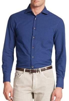 Brunello Cucinelli Tonal Dot Button-Down Shirt