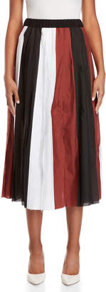 Alysi Color Block Stripe Pleated Skirt