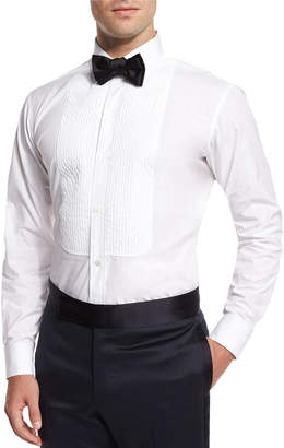 Charvet Basic Pleated Cotton Dress Shirt, White