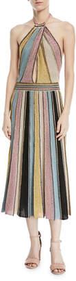 M Missoni Crochet Striped Halter Dress, Sea