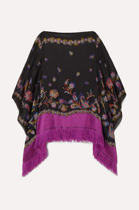 Etro Fringed Silk-blend Jacquard Poncho - Black