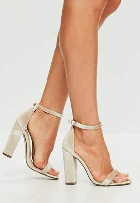 Missguided Cream Speckled Velvet Barely There Block Heels