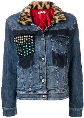Miu Miu contrast-collar denim jacket