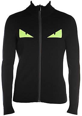 Fendi Men's Fluorescent Bugs Full Zip Wool-Blend Sweater