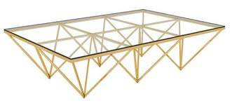 Everly Quinn Bertram Modern Polished Metal/Glass Coffee Table