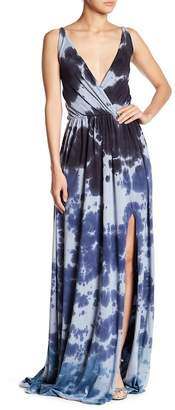 Go Couture Tie Dye Empire Waist Slit Maxi Dress