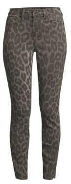 Joe's Jeans Charlie High-Rise Distressed Leopard Skinny Ankle Jeans