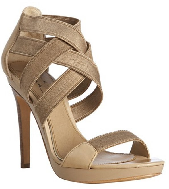 Mark & James by Badgley Mischka tan leather and elastic 'Malise' strappy sandals