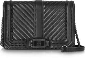 Rebecca Minkoff Black Chevron Quilted Leather Small Love Crossbody Bag