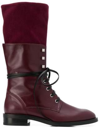 Stuart Weitzman layered lace-up boots