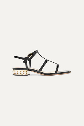 Nicholas Kirkwood Casati Embellished Patent-leather Sandals - Black