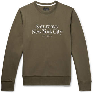 Saturdays NYC Bowery Logo-Embroidered Loopback Cotton-Jersey Sweatshirt - Men - Green