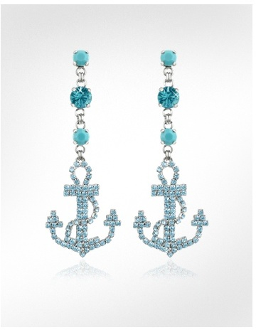 Ileana Creations Anchor Swarovski Crystal and Turquoise Drop Earrings