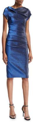 Theia Cap-Sleeve High-Neck Stretch Metallic Dress
