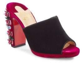 Christian Louboutin Donaflor 100 Embellished Velvet Mules