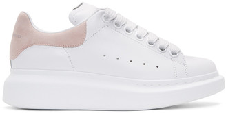 Alexander McQueen White & Pink Leather Sneakers $575 thestylecure.com