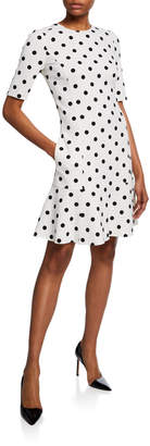 Oscar de la Renta Embroidered Polka-Dot Wool Shift Dress