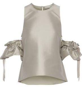 Sachin + Babi Etta Cold-Shoulder Ruffled Duchesse Satin-Twill Top