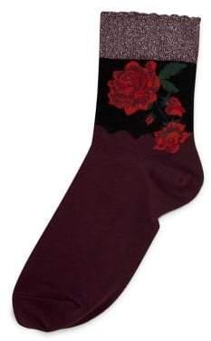 Hue Metallic Rose Shortie Socks