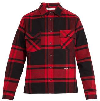 Off-White Off White Checked Cotton Blend Shirt - Mens - Red