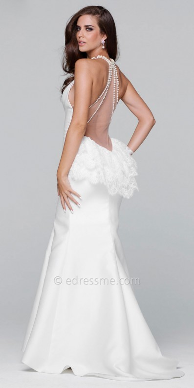 Tarik Ediz Prom Illusion Pearl Beaded Ruffle Back Prom Dress