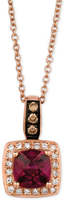 LeVian Le Vian Chocolatier Raspberry Rhodolite Garnet (9/10 ct. t.w.) and Diamond (1/8 ct. t.w.) Pendant Necklace in 14k Rose Gold