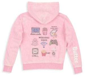 Butter Shoes Girl's Embellished Mineral Wash Zip Hoodie