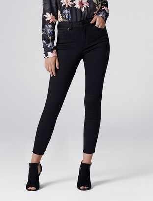 Forever New Poppy Mid Rise Ankle Grazer Jeans - Black Power Stretch - 4