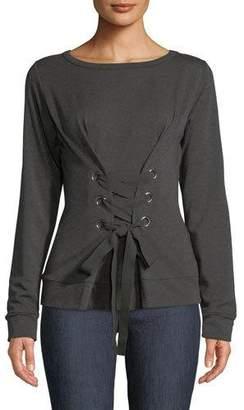 Bailey 44 Lace-Up Fleece Pullover Sweatshirt