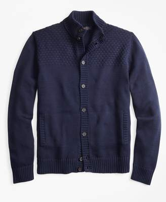 Brooks Brothers Textured Button-Front Mockneck Cardigan