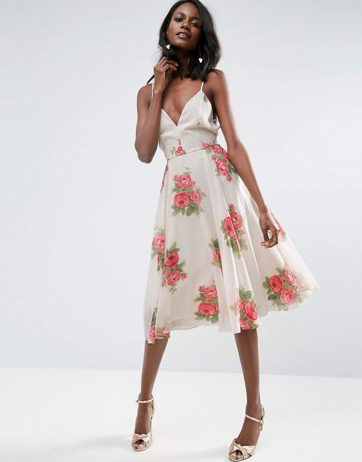 Asos ASOS Rose Floral Cami Midi Dress