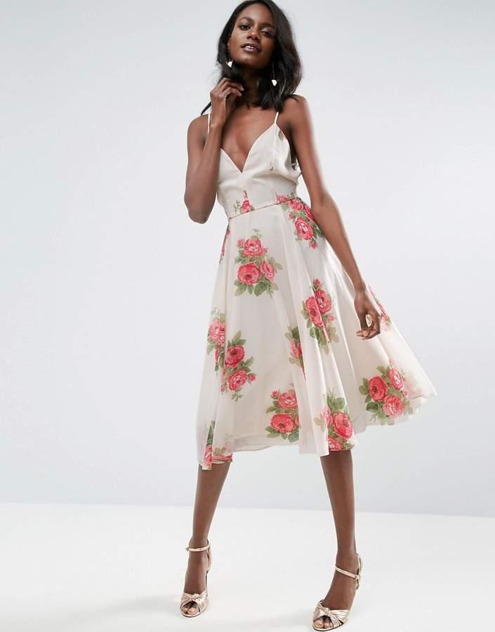 AsosASOS Rose Floral Cami Midi Dress