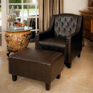 Three Posts Chris Leather Club Chair And Ottoman
