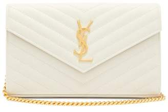 Saint Laurent Monogram Chevron Quilted Leather Cross Body Bag - Womens - White
