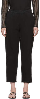 Raquel Allegra Black Jersey Tailoring Ankle Lounge Pants