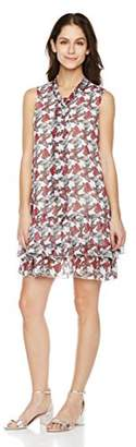Signature Society Women's Round Neck Sleeveless Dress with Butterfly Print