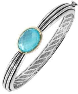 Mother of Pearl Fine Jewellery Blue Quartz and Doublet Two Tone Bangle
