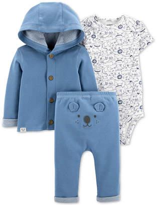 Carter's Carter Baby Boys Cotton Cardigan, Printed Bodysuit & Bear Pants