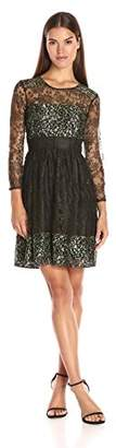 French Connection Women's Molly Lace Rdnk Long Sleeve Dress